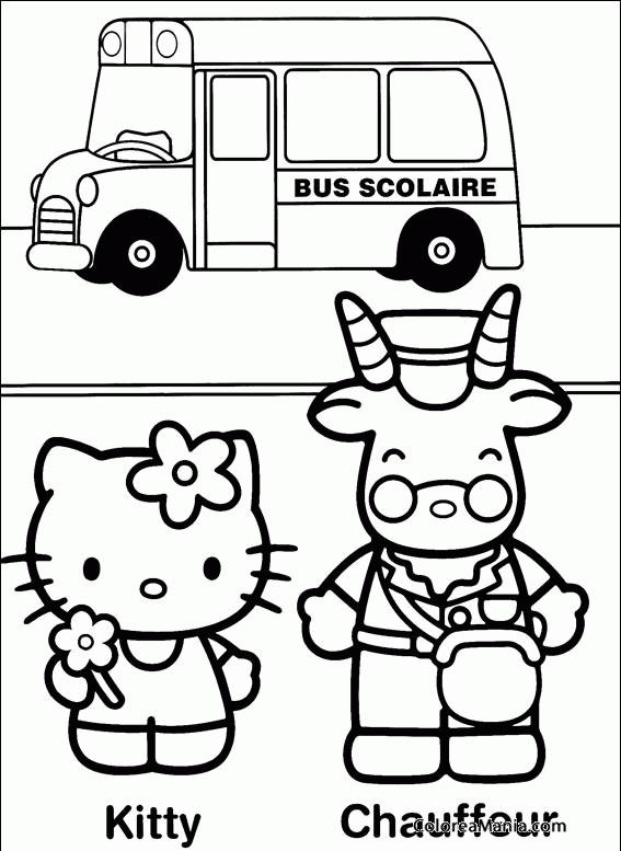 Colorear Kitty Junto Al Chofer Del Bus Hello Kitty Dibujo