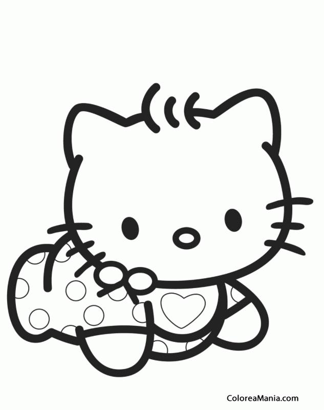 Colorear Kitty de bebé (Hello Kitty), dibujo para colorear gratis