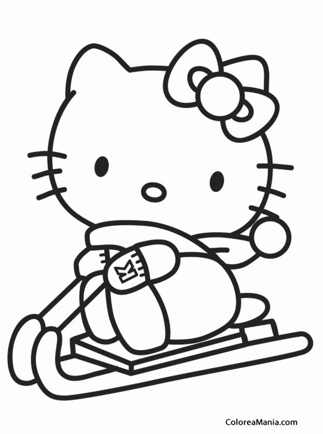 Colorear Kitty va en trineo (Hello Kitty), dibujo para colorear gratis