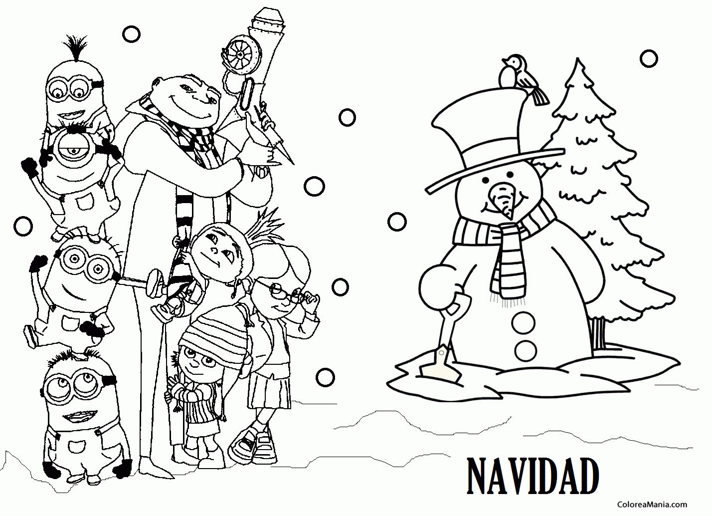 Colorear Minions en Navidad (Minions), dibujo para colorear gratis