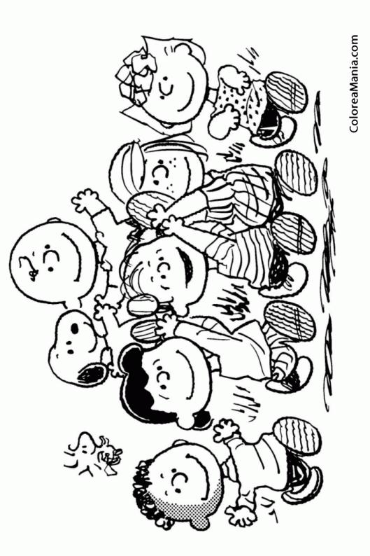 Colorear Snoopy Con Sus Amigos Carlitos Y Snoopy Dibujo