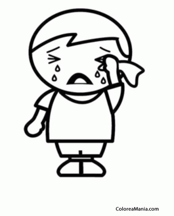 Colorear Niño llorando desconsoladamente (Expresión y Lenguaje ...