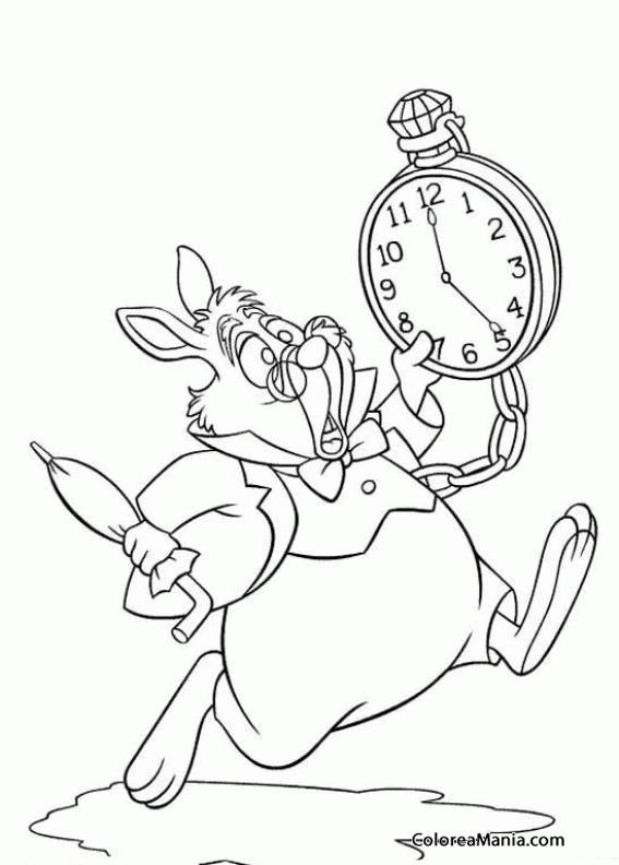 Colorear El Conejo Blanco mira el reloj (Alicia en el país de las ...
