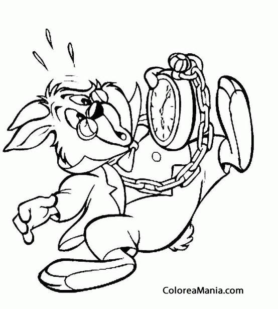 Colorear El Conejo Blanco mirando el reloj (), dibujo para colorear ...