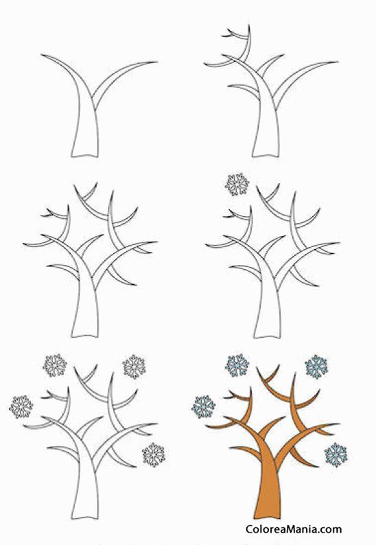 Colorear Como pintar un árbol en invierno (Cómo dibujar flores y ...