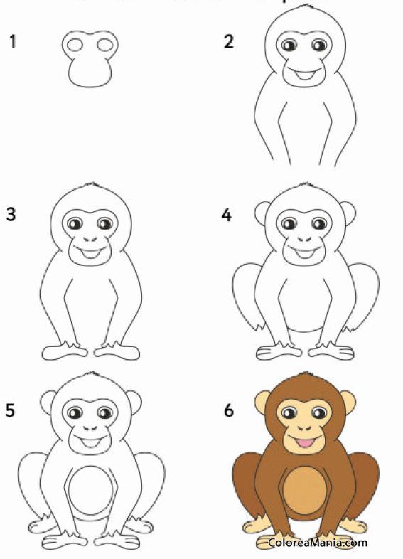 Colorear Como diujar un chimpancé (Cómo dibujar animales), dibujo ...