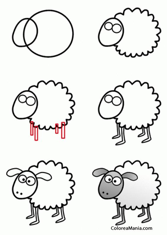 Colorear Como dibujar un cordero (Cómo dibujar animales), dibujo ...