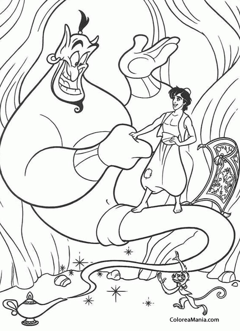 Colorear Aladin, el Genio y Abu (Aladdin), dibujo para colorear gratis