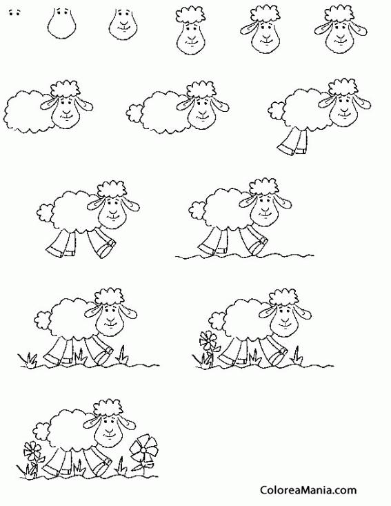 Colorear Como dibujar un cordero 01 (Cómo dibujar animales), dibujo ...