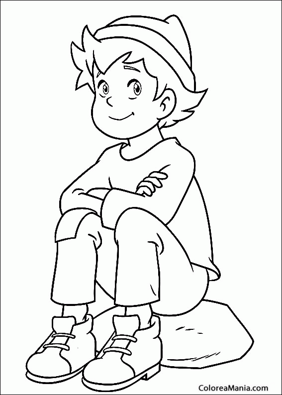 Colorear Pedro Sentado En Una Roca Heidi Dibujo Para