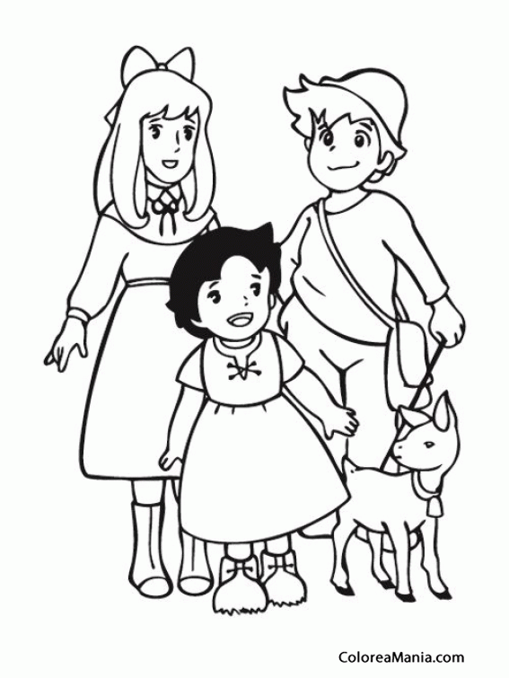 Colorear Heidi Clara, Pedro i Copo de nieve (Heidi), dibujo para