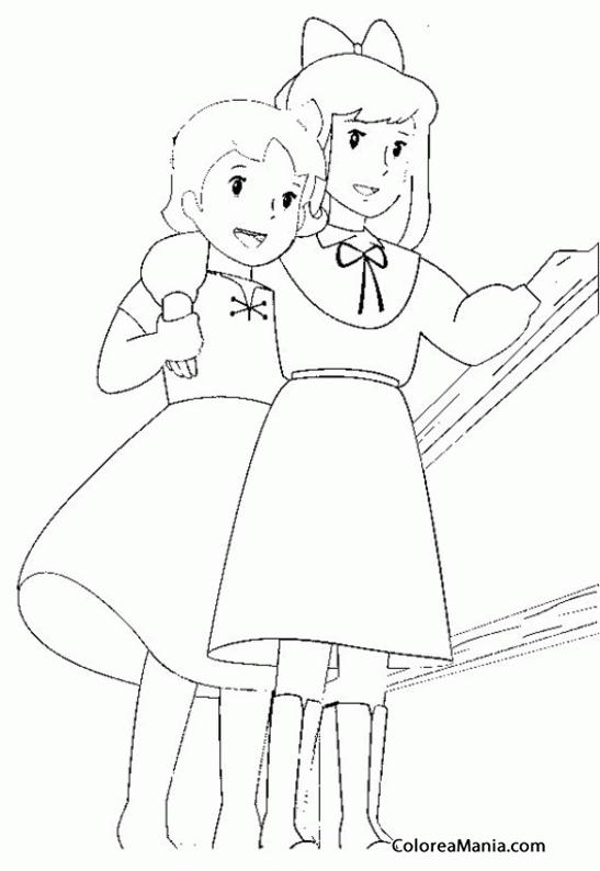 Colorear Heidi ayudando a Clara a caminar (Heidi), dibujo para ...