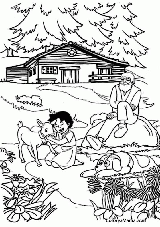 Colorear Heidi y su abuelo frente a su casa (Heidi), dibujo para