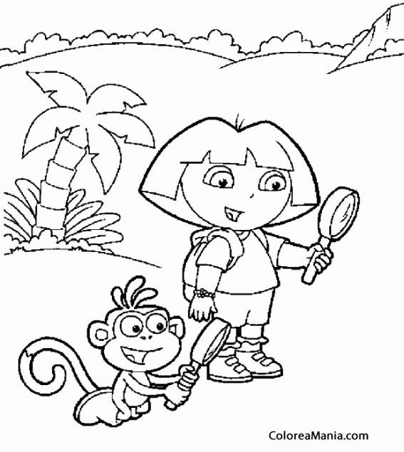 Colorear Dora Y Botas Juegan Con Lupas Dora La Exploradora Dibujo