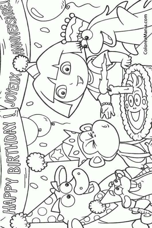 Colorear Dora y sus amigos celebran un cumpleaños (Dora la ...