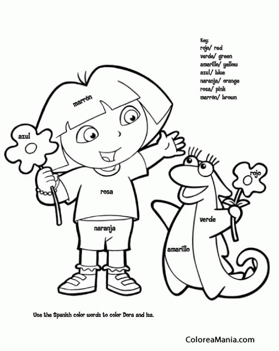 Colorear Dora y la iguana (Dora la exploradora), dibujo para ...