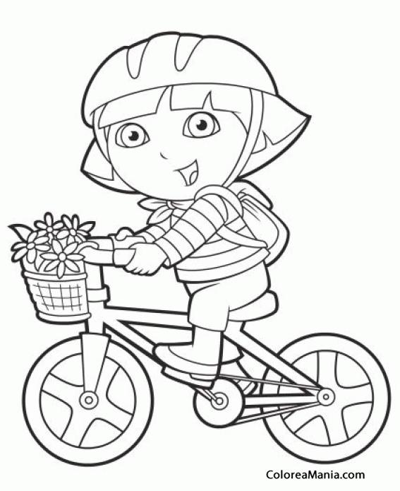 Colorear Dora Va En Bicicleta Dora La Exploradora Dibujo Para
