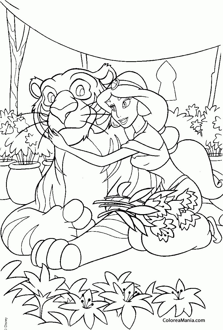 Colorear princesa jasmine y su tigre aladdin dibujo - Tigre de jasmine ...