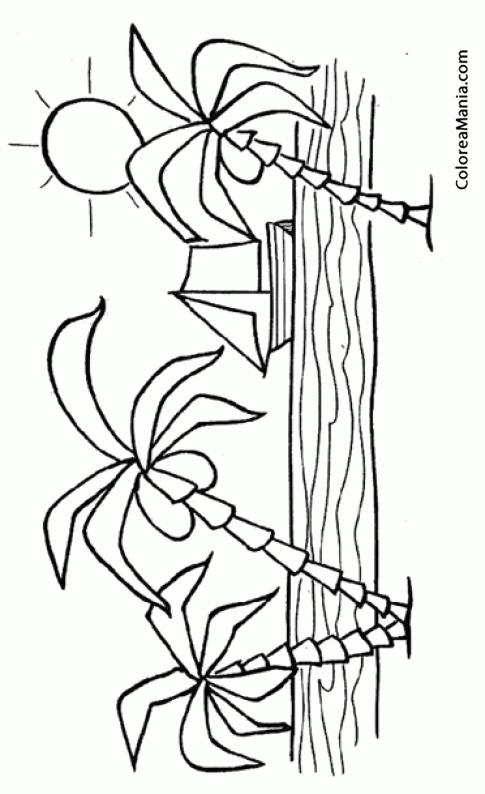 Colorear Playa con un barco al fondo (Paisajes), dibujo para ...