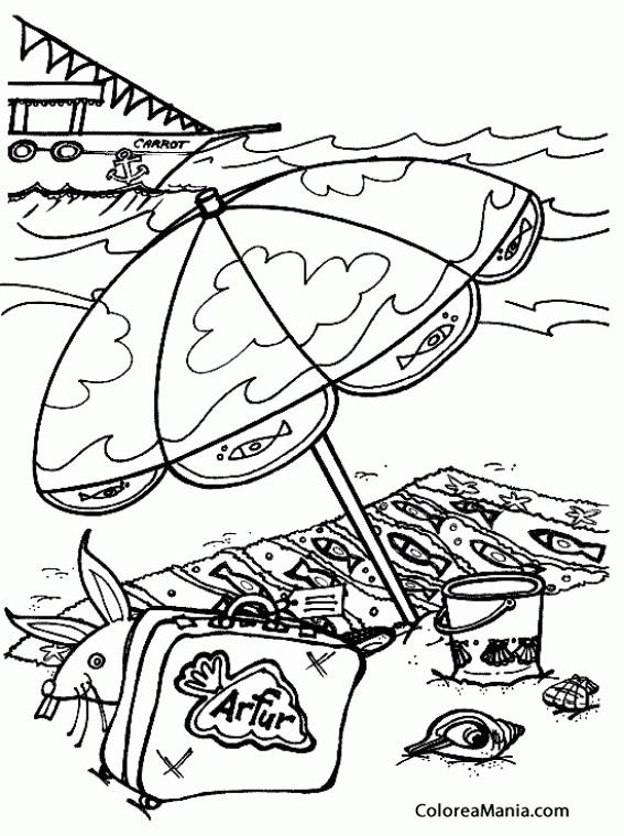 Colorear Verano en la playa (Paisajes), dibujo para colorear gratis