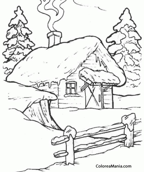 Colorear Casita en la montaña en invierno (Paisajes), dibujo para ...