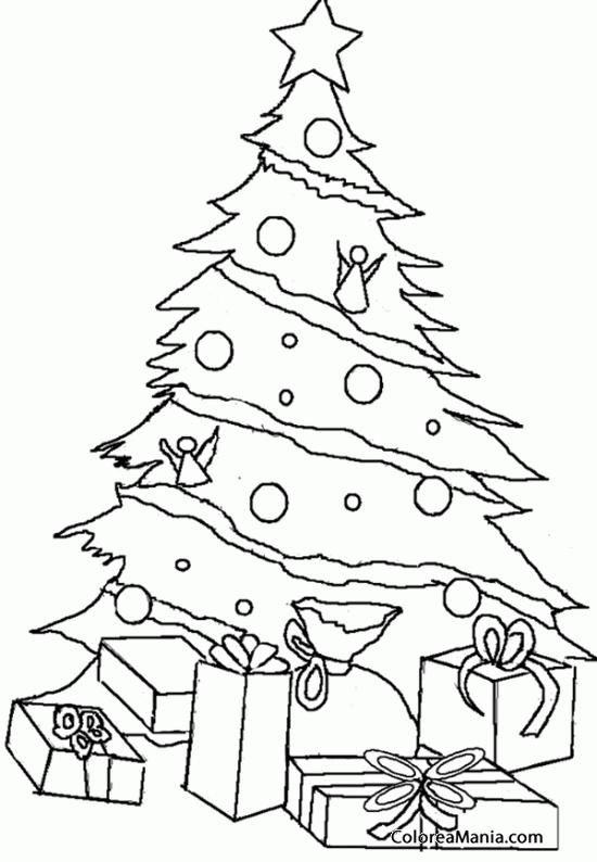 Colorear árbol De Navidad Con Regalitos Navidad Dibujo