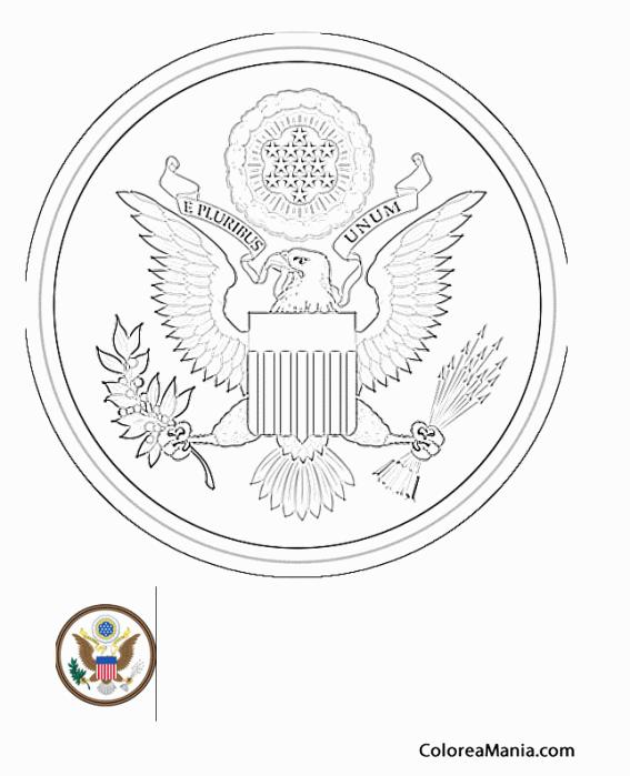 Colorear USA escudo de Armas (Escudos de Armas), dibujo para ...