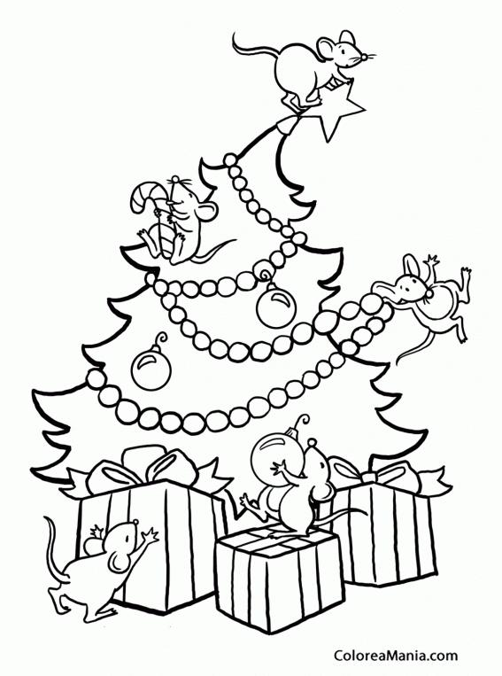 Colorear Ratones en el árbol de Navidad (Navidad), dibujo para ...