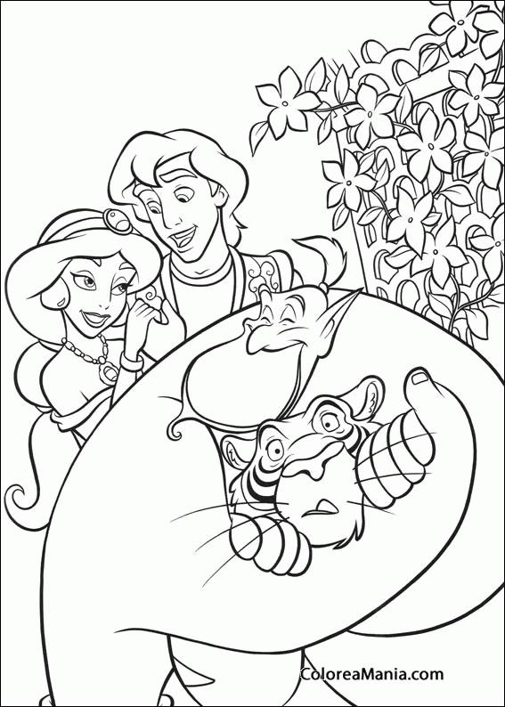 Colorear Aladdin y Jasmine con el Genio (Aladdin), dibujo para ...