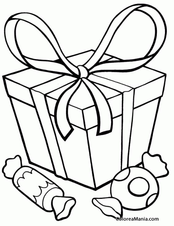Colorear Regalo Y Caramelos Navidad Dibujo Para Colorear