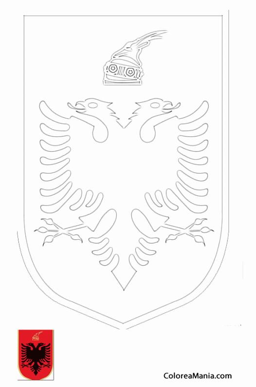 Colorear Albania, escudo de armas (Escudos de Armas), dibujo para ...