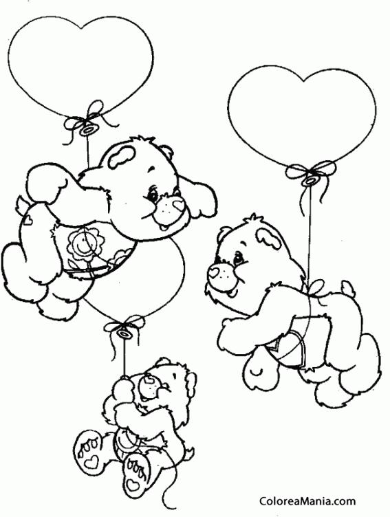 Colorear Tres ositos atados a globos (Peluches), dibujo para ...