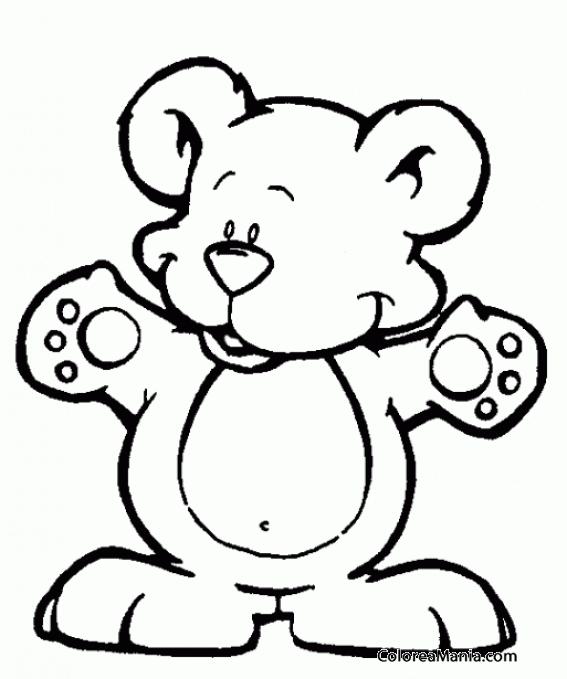 Colorear Osito brazos abiertos (Peluches), dibujo para colorear gratis