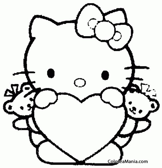 Colorear Hello Kitty Con Sus Dos Peluches Peluches Dibujo