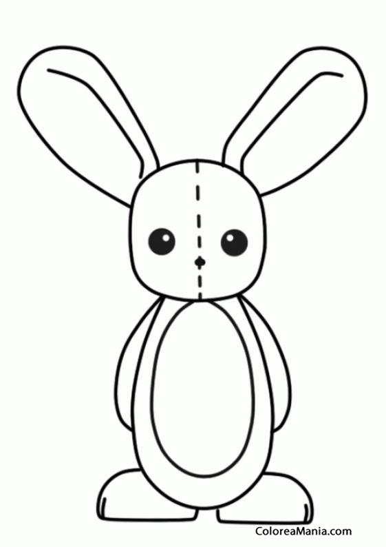 Colorear Conejito peluche (Peluches), dibujo para colorear gratis