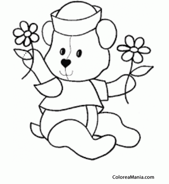 Colorear Osito marinero con dos flores (Peluches), dibujo para ...