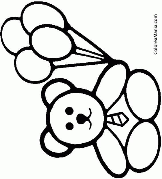 Colorear Osito Con Cuatro Globos Peluches Dibujo Para