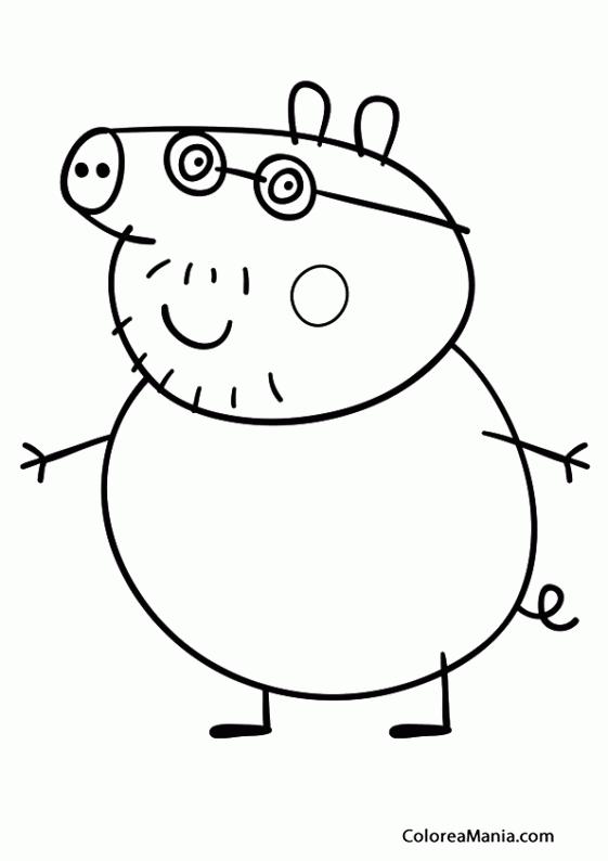 Colorear Papa Pig Peppa Pig Dibujo Para Colorear Gratis