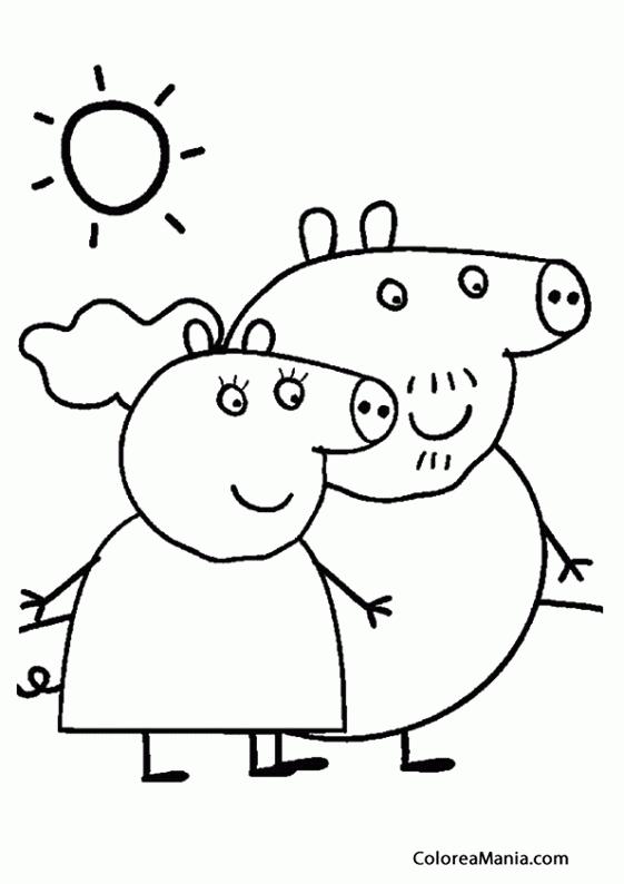 Colorear Papa Pig Y Mama Pig Peppa Pig Dibujo Para Colorear Gratis