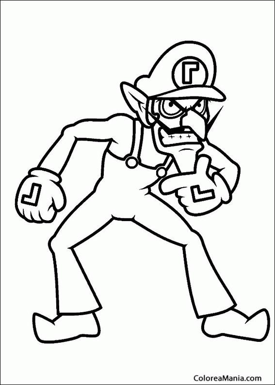 Colorear Waluigi Con La Mano En La Barbilla Super Mario