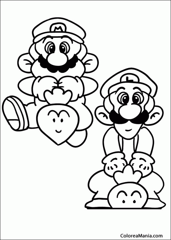 Colorear Mario Con Luigi Su Hermano Super Mario Bross