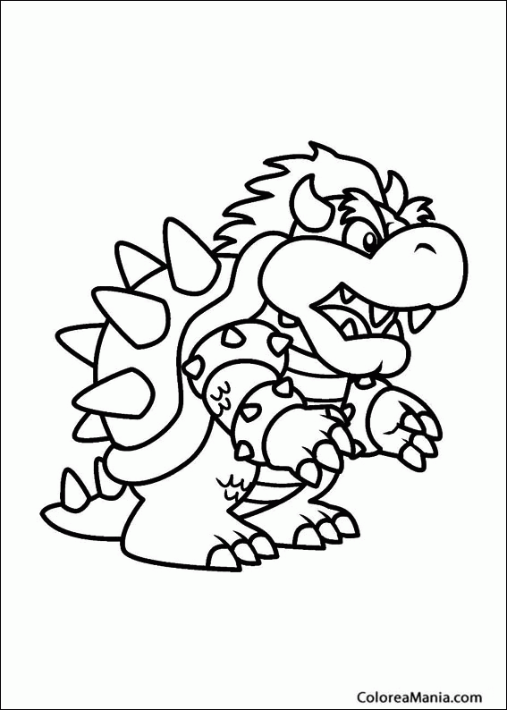 Colorear Bowser, el rey de los Koopas (Super Mario Bross), dibujo ...