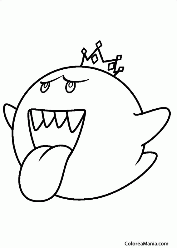 Colorear Rey Boo Super Mario Bross Dibujo Para Colorear