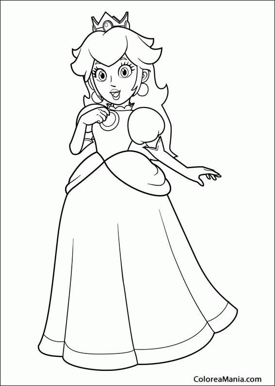 Colorear Princesa Peach (Super Mario Bross), dibujo para colorear