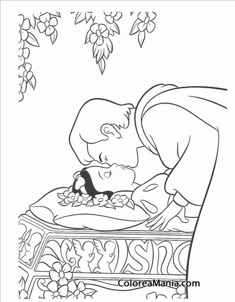 Colorear Beso del príncipe (Blancanieves), dibujo para colorear gratis
