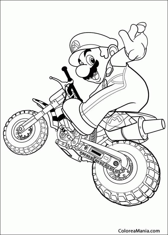 Colorear Mario En Moto De Cross Super Mario Bross Dibujo Para