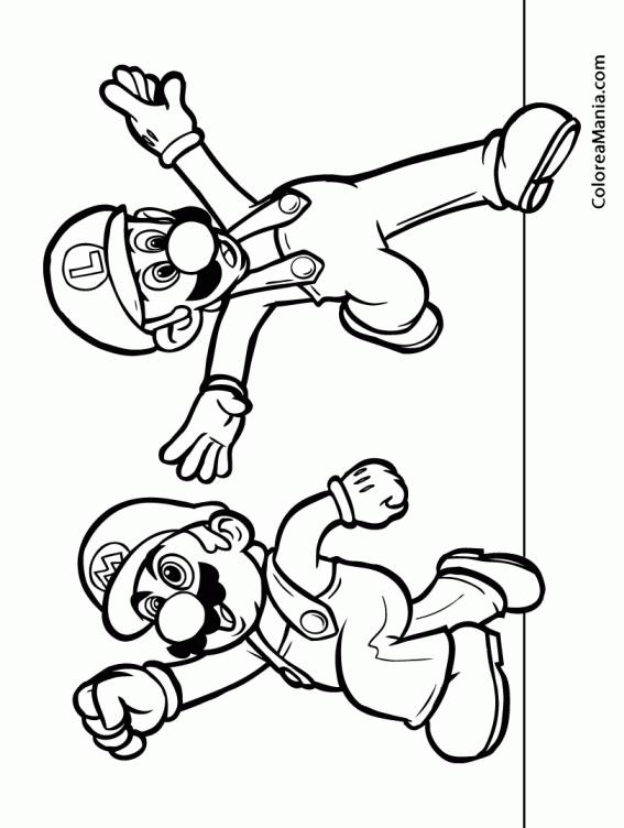 Colorear Mario Y Luigi Super Mario Bross Dibujo Para