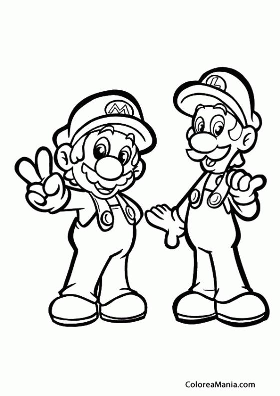 Colorear Mario Y Luigi 03 Super Mario Bross Dibujo Para