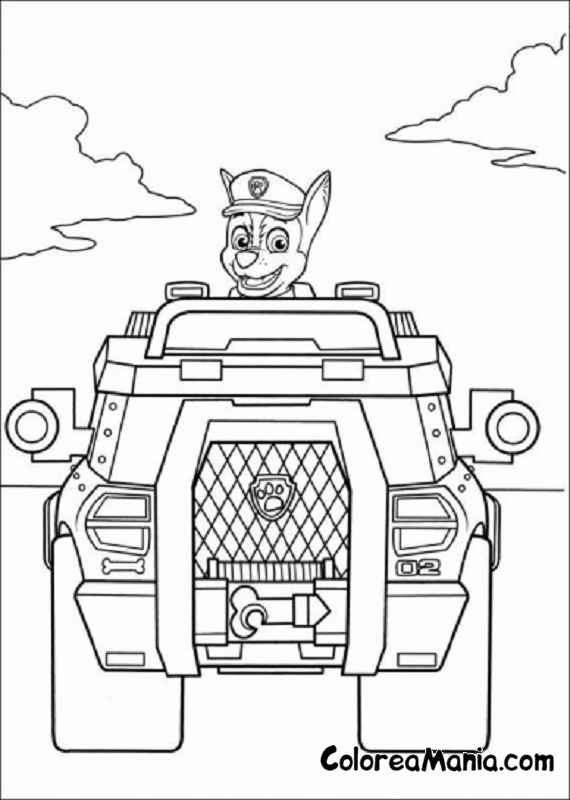 Colorear Chase Con Su Vehiculo Patrulla Canina Dibujo Para