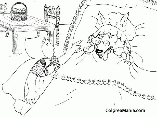 Colorear caperucita y el lobo en la cama caperucita roja - Dibujos para cabeceros de cama ...